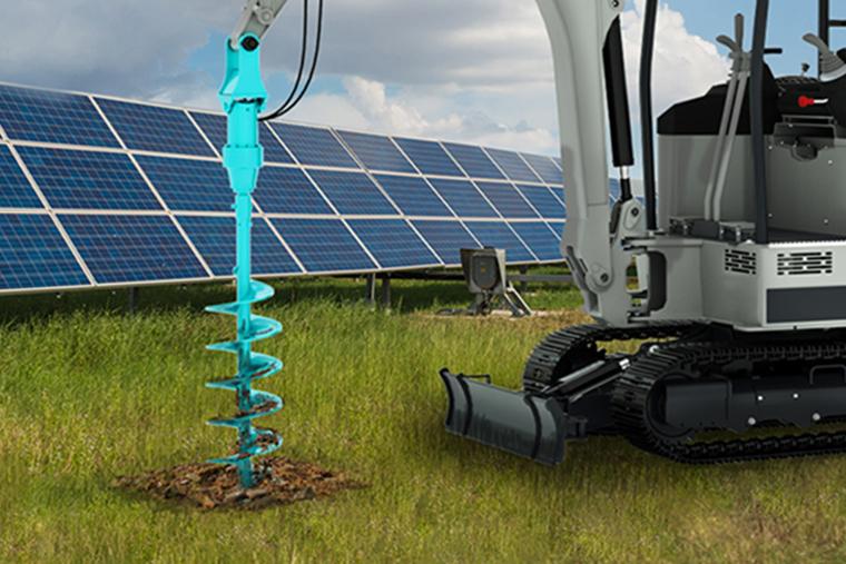 太陽光施工向き! ミニショベルに 装着すれば 掘削機に早変わり